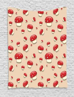 Cartoon Mushrooms Tapestry