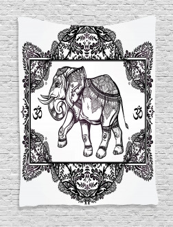 Bohemic Floral Elephant Tapestry