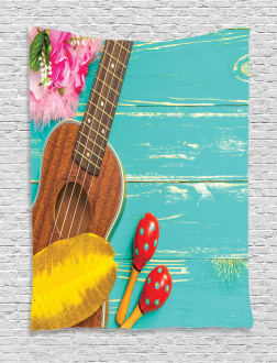 Hawaiian Summer Ukulele Tapestry