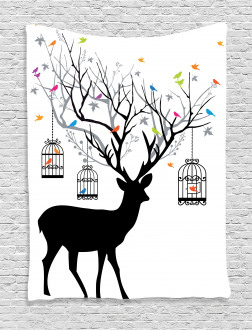 Deer Colorful Birds Tapestry