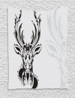 Tribal Deer Shadow Art Tapestry