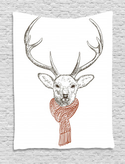 Deer with Scarf Winter Tapestry