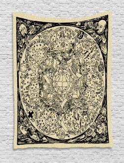 Ancient Map Symbols Tapestry