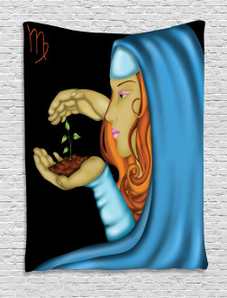 Virgo Lady Face Icon Tapestry
