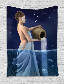 Aquarius Lady with Pail Tapestry