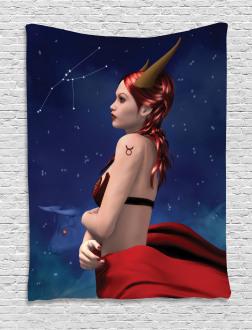 Taurus Girl Horns Sign Tapestry