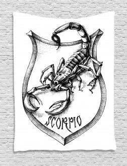 Black and White Scorpio Tapestry