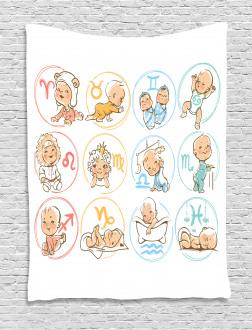 Zodiac Signs Design Tapestry