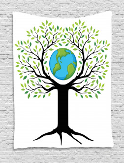 Green Friendly Earth Tapestry