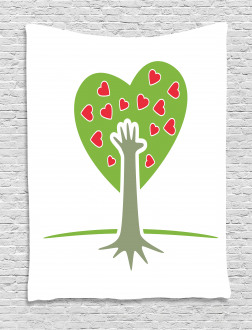 Hand and Hearts Tree Tapestry