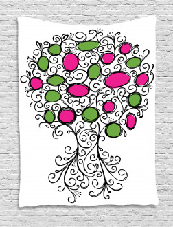 Pink Green Spring Tree Tapestry