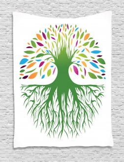 Colorful Tree Art Tapestry