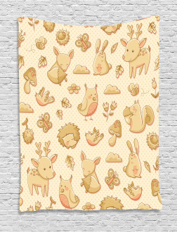 Forest Animals Polka Dots Tapestry