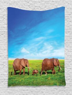 Elephant Family Africa Tapestry