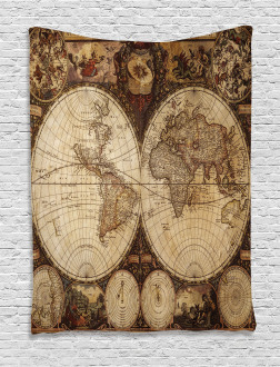 Historic Old Atlas Tapestry