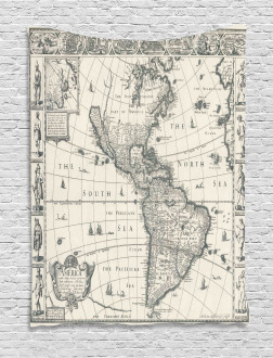 Retro Old America Map Tapestry