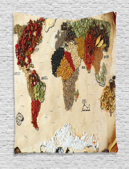 Boho Food Symbols Tapestry