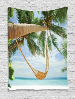 Ocean Sandy Shore Palm Tapestry