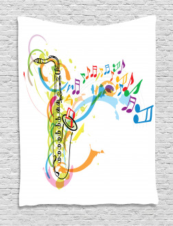 Saxophone Wavy Notes Tapestry