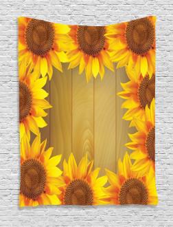 Flower Frame Circle Tapestry