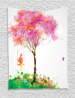 Spring Blossoming Tree Tapestry