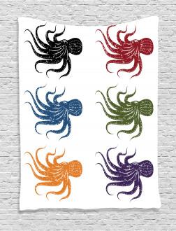 Grunge Underwater Life Tapestry