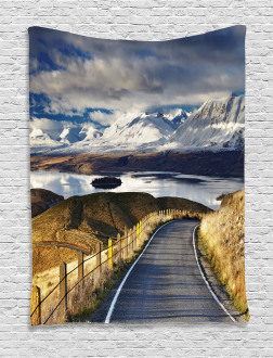 River Snowy Mountain Tapestry