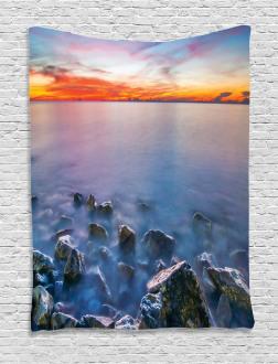 Sunrise Horizon Calm Waves Tapestry