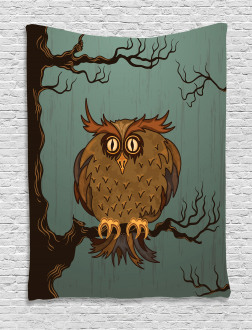 Tired Owl on Oak Tree Tapestry