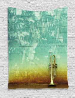 Old Worn Trumpet Grungy Tapestry
