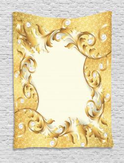 Golden Floral Ornament Tapestry
