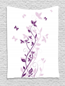Violet Tree Blossoms Tapestry