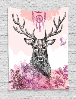 Flower Leaves Hand Drawn Tapestry