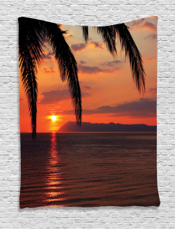 Sunrise on Sea and Palms Tapestry
