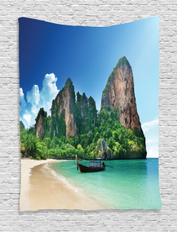 Thailand Rock Cliff Beach Tapestry