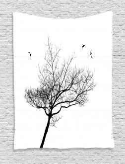 Tree Flying Birds Tapestry