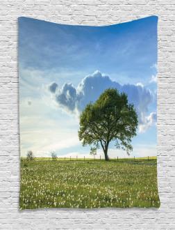 Tree on Field Summer Tapestry