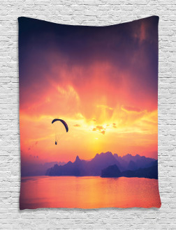 Paragliding at Sunset Tapestry