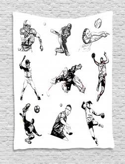 Sports Theme Sketch Tapestry