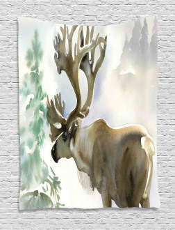 Winter Forest Paint Style Tapestry