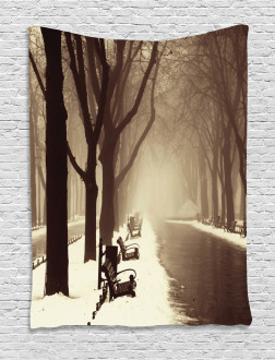 Street View Foggy Day Tapestry