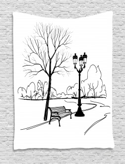 Serenity in Fall Park Tapestry