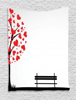 Tree Heart Leaves Tapestry