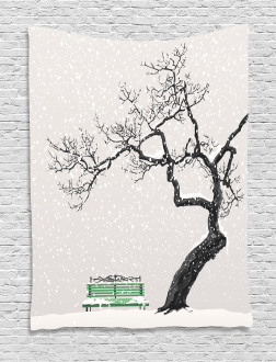 Retro Bench and Tree Tapestry