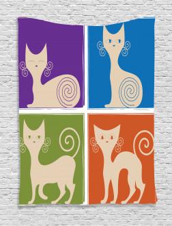 Cartoon Cats Emotions Tapestry
