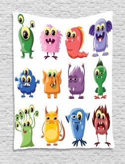 Cartoon Aliens Monsters Tapestry