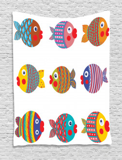 Folkloric Fish Family Tapestry