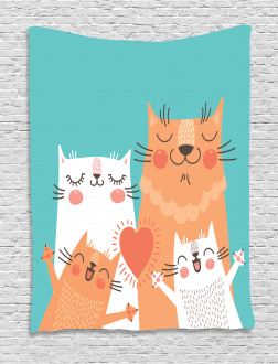 Cute Kitty Couple Happy Tapestry