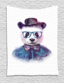 Hipster Panda with Tie Tapestry