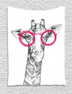 Hipster Animal Glasses Tapestry